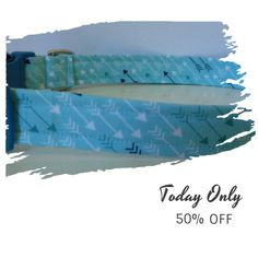 """Today Only! 50% OFF this item.  Follow us on Pinterest to be the first to see our exciting Daily Deals. Today's Product: Sale - 50% Off Arrow Dog Collar - Modern Blue, Green & While Arrows - """"Daryl"""" - Free Colored Buckles Buy now: https://www.etsy.com/listing/275066324?utm_source=Pinterest&utm_medium=Orangetwig_Marketing&utm_campaign=12%2F22%20-%2012%2F31"""