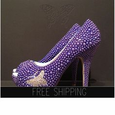 1. Top quality pearls. Image color - Blue2. Butterfly crystal image: Clear Crystals3. Image: 5 heels 1 1/4 platforms. 4. 100% custom handmade5. 15 DAYS PROCESSING + shipping time