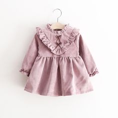 >> Click to Buy << 0-3 years baby girls dress spring autumn cotton solid ruffle collar full length knee a line dress for kids #Affiliate