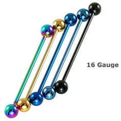 $5.49 Amazon.com: Black Titanium Anodized Over 316L Surgical Steel Industrial Barbell - 16g, 38mm Length, 5mm Ball Size - Sold Individually: Jewelry
