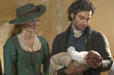 Happy...for now: Demelza and Poldark share a tender moment at baby Jeremy's christening in the fourth episode of the latest series of Poldark