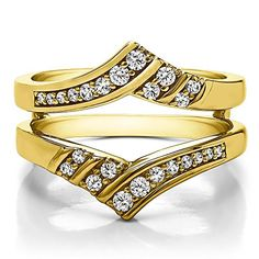 10k Gold Double Row Chevron Ring Enhancer with Forever Brilliant Moissanite by Charles Colvard (0.42 ct.)