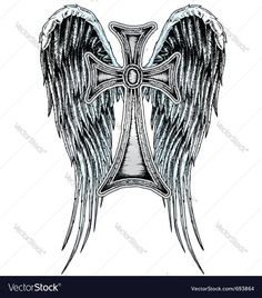 """Tattoo-Art Vector in Day Of The Dead Vector in """"The Different Vectors of The Grey King"""" Cool Cross Tattoos, Cross With Wings Tattoo, Angel Wings Tattoo On Back, Wing Tattoos On Back, Celtic Cross Tattoos, Cross Tattoos For Women, Cute Tattoos, Forearm Cover Up Tattoos, Cover Up Tattoos For Men"""