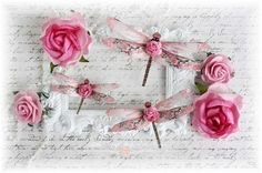Rose Dragonfly Embellishments  for Scrapbooking, Cardmaking, Tag Art, Mixed Media, Wedding