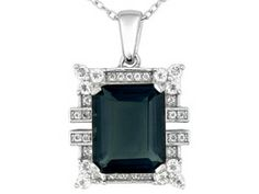 Teal Fluorite 7.90ct With .55ctw White Topaz Sterling Silver Pendant With Chain