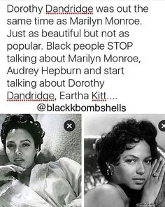 well im def not gonna stop talkin abt marilyn and audrey but i'll be sure to look up these amazing women too! Black Girl Magic, Black Girls, Dorothy Dandridge, Lgbt, Def Not, Black History Facts, Black Pride, My Black Is Beautiful, Black Power