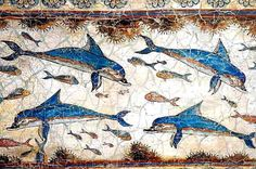 unique work of art, the dolphins in Knossos, Crete
