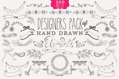 Share this: Become a Partner           A huge Hand drawn Designer's Element Kit - filled with over 200 beautiful hand drawn elements, including fleurons, curls, hearts, wreaths, arrows, swirls, laurels, frames, borders, leaves, flowers, feathers, dividers, butterflies and banners/ribbons.