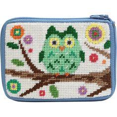 Needlepoint Stitch & Zip Coin Purse - Owls