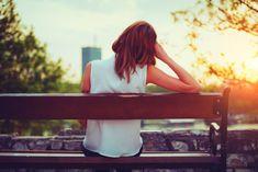 Enjoy Sad Girl at Morning with Sunset in Garden