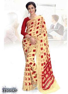 Beautiful Beige Coloured Georgette Casual saree