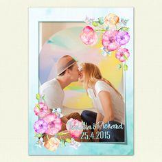 """Svadobné oznámenie """"Dúhová svadba"""" zadná strana s fotkou"""
