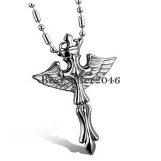 Keltisches Kreuz Engelsflügel Feder Anhänger Edelstahl Halskette Kette Charm