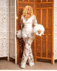 Nigerian Lace Styles Dress, Aso Ebi Lace Styles, Latest African Fashion Dresses, African Print Fashion, Classy Outfits, Stylish Outfits, Cord Lace Styles, White Fashion, Jumpsuits For Women
