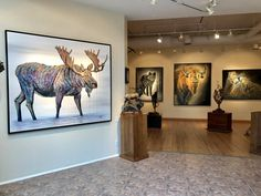 Moose Lake is a contemporary wildlife painting of colorful bull moose in water. Original painting is available to purchase on Aspen Grove Fine Art. Bull Moose, Moose Art, Fine Art Photo, Park City, Aspen, Galleries, Original Paintings, Art Gallery, Lion Sculpture