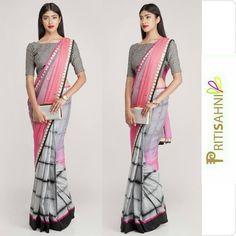 Pink and Black Saree