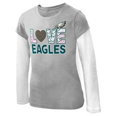 Show off your pride in the Girl's 7-16 #Eagles Feel the Love T-shirt.  $24.99