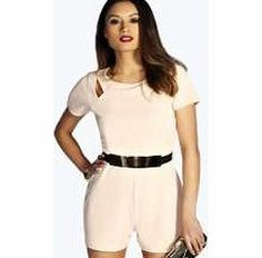 boohoo Cut Out Capped Sleeve Belted Playsuit - blush Do nothing but flattering styling in this fuss-free, belted playsuit . Creating a stunning silhouette, we cant wait to style it with skyscraper heels , an embellished clutch and quirky arm cuff . http://www.comparestoreprices.co.uk/womens-clothes/boohoo-cut-out-capped-sleeve-belted-playsuit--blush.asp