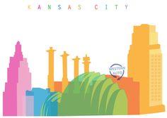 Kansas City Skyline One Featuring: KC Power & Light Building / Kauffman Center / Western Auto / Bartle Hall Pylons Would you like a design Kansas City Skyline, Kansas City Missouri, Kansas City Royals, Skyline Design, Painting Inspiration, Art Inspo, Business Design, Travel Posters, Graphic Design