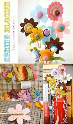 lovely and easy, great rainy day activity. fab diy project with felt, buttons, and a little bit of sewing