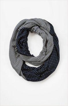 Dots & stripes knit infinity scarf