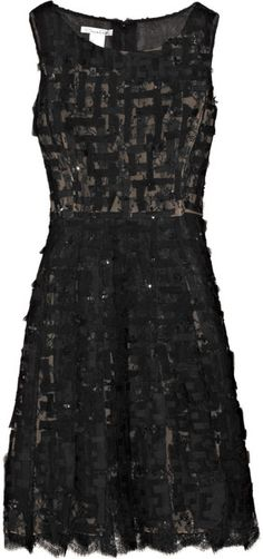 OSCAR DE LA RENTA Sequined Chiffon and Chantilly Lace Dress - a girl can dream