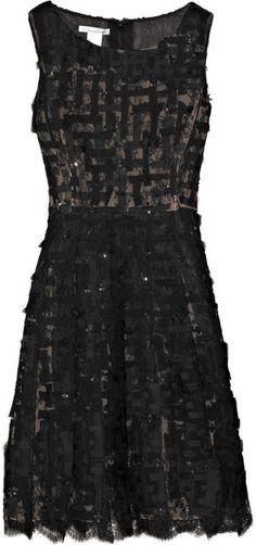 OSCAR DE LA RENTA Sequined Chiffon and Chantilly Lace Dress - a girl can dream
