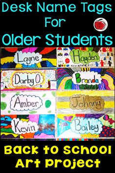 Are your students too old for the traditional desk plate name tags? I want my students to have name tags but they feel that the ones with. Name Tag For School, Back To School Art, First Day Of School, Art School, School Ideas, Student Name Tags, Desk Name Tags, Teaching Activities, Teaching Art