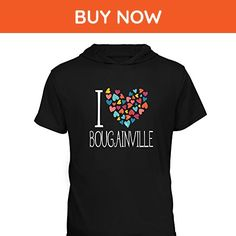 Idakoos - I love Bougainville colorful hearts - Cities - Hooded T-Shirt - Cities countries flags shirts (*Amazon Partner-Link)