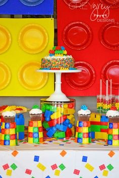 Brittany S's Birthday / Legos, lego movie, lego friends - Lego Party at Catch My Party 4 Year Old Boy Birthday, Lego Movie Birthday, Lego Friends Birthday, Lego Movie Party, Lego Themed Party, Ninja Birthday, Birthday Themes For Boys, 9th Birthday Parties, 5th Birthday