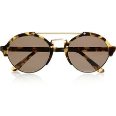 Illesteva Milan II round-frame acetate and metal sunglasses ($320) ❤ liked on Polyvore featuring accessories, eyewear, sunglasses, glasses, очки, round frame, tortoiseshell, round metal sunglasses, brown round sunglasses and round tortoise sunglasses