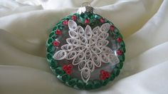 Paper quilled snowflake ornament (front side)