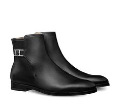 Portland Hermes men's low boot in calfskin with palladium plated double H buckle, leather sole