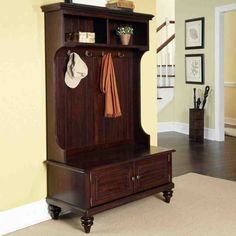 Bermuda Hall Tree in Espresso. This would match all my living room furniture Hall Tree Storage Bench, Hall Tree Bench, Entryway Storage, Storage Spaces, Hall Trees, Entryway Bench, Seat Storage, Storage Benches, Hall Tree With Mirror