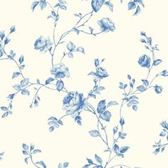 Kitchen and Bath White, True Blue and Light Blue Rose Toile Wallpaper