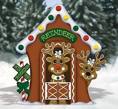 Christmas Gingerbread Reindeer Stable Yard Decoration