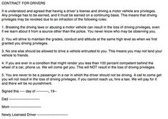 Ann Landers New Teen Driver Contract