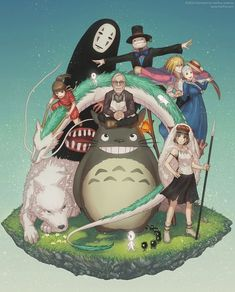 Hayao Miyazaki- Tonari no Totoro Hayao Miyazaki, Ghibli Tattoo, Studio Ghibli Art, Studio Ghibli Movies, Kawaii Anime, Manga Anime, Anime Art, Image Clipart, Howls Moving Castle