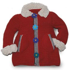 Crochet Christmas Coat Pattern for Girls, Crochet Pattern Red Coat and Matching Gloves and Headband Boy Crochet Patterns, Crochet Jacket Pattern, Crochet Headband Pattern, Crochet Coat, Crochet Mittens, Baby Patterns, Crochet Designs, Crochet For Boys, Crochet Baby