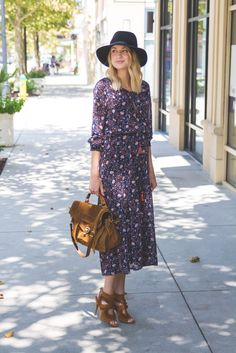 Little Blonde Book by Taylor Morgan   A Life and Style Blog : Midi Dress : Transition Into Fall
