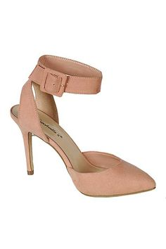 ANKLE STRAP POINTED TOE PUMPS- Blush