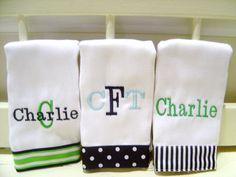 Baby Boy Monogrammed Burp Cloth Set by flauntthename on Etsy, $25.00