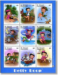 ST. VINCENT - Betty Boop as Jack and Jill, Jack be Nimble, 3 Blind Mice, Little Miss Moffett, Cat n Fiddle, Little Jack Horner, Mother Goose, 3 Little Kittens, 3 in a Tub. Fairy tale Postage stamps