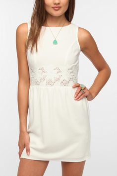 Pins And Needles Crepe Lace Waist Dress  #UrbanOutfitters