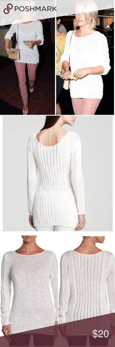"""Rachel Zoe sweater Rachel Zoe off white sweater - super stretchy  - off white color  - ribbed sleeve cuffs and bottom band  - decorative contrast stitching down the back and down the sleeves - measures 26"""" in length Rachel Zoe Tops"""