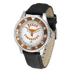 """Texas Longhorns NCAA """"Competitor"""" Mens Watch by SunTime. $73.79. Color Coordinated. Rotating Bezel. Calendar Date Function. Showcase The Hottest Design In Watches Today! A Functional Rotating Bezel Is Color Coordinated To Highlight Your Favorite Team Logo. A Durable, Long Lasting Combination Nylon/Leather Strap, Together With A Calendar Date, Round Out This Best Selling Timepiece."""