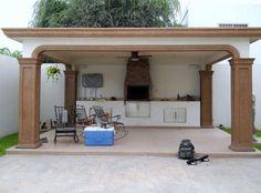 De obra con tejado de teja barbacoas cocinas y pergolas for Asadores de carne para jardin