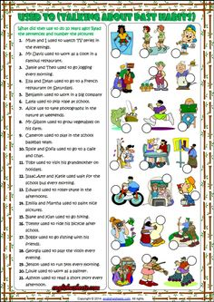 Used To : Past Habits Matching Exercise ESL Worksheet