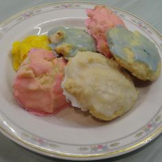 Delicately sweet and soft, these cookies are scrumptious. The ricotta is a great addition to the recipe. These are almost too pretty eat! Spring Recipes, Easter Recipes, Holiday Recipes, Easter Desserts, Easter Treats, Cookie Desserts, Cookie Recipes, Dessert Recipes, Cooking Cookies
