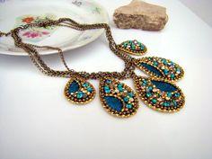 Petrol #blue-teardrop-statement nacklace de Lottaart - Handmade Jewellery #Boho by Leon and Lidia sur DaWanda.com